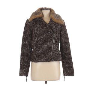 NWOT W by Worth tweed pea coat brown black size 8